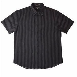Apt. 9 Black Striped Short Sleeve Shirt L